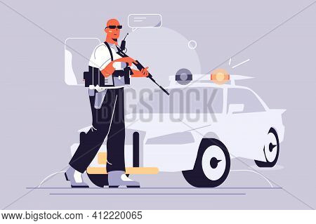 Police Guy And Car Vector Illustration. Police Officer In Uniform Standing With Weapon Flat Style. C