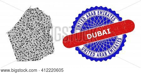 Music Pattern For Dubai Emirate Map And Bicolor Scratched Stamp Badge