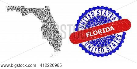 Melody Notes Mosaic For Florida State Map And Bicolor Textured Stamp Badge