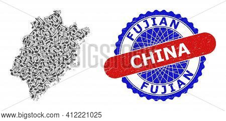 Musical Collage For Fujian Province Map And Bicolor Grunge Seal Stamp