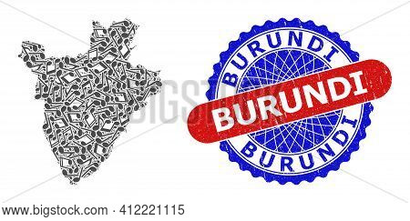 Music Notes Pattern For Burundi Map And Bicolor Textured Stamp Badge