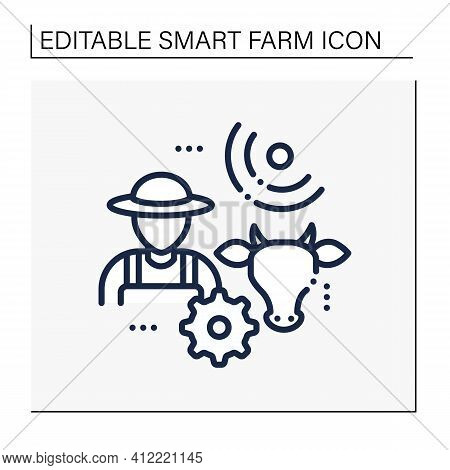 Animal Breeder Line Icon. Responsible For Producing Animals For Business. May Assist With Breeding O