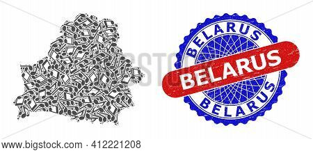 Music Notation Pattern For Belarus Map And Bicolor Scratched Stamp Badge
