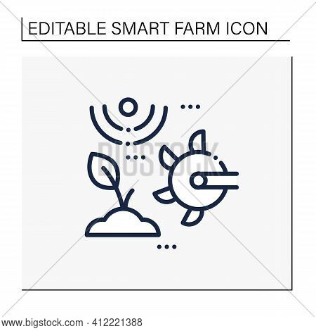 Soil Tilling Line Icon. Agricultural Preparation Of Soil By Mechanical Agitation. Using Digging, Sti