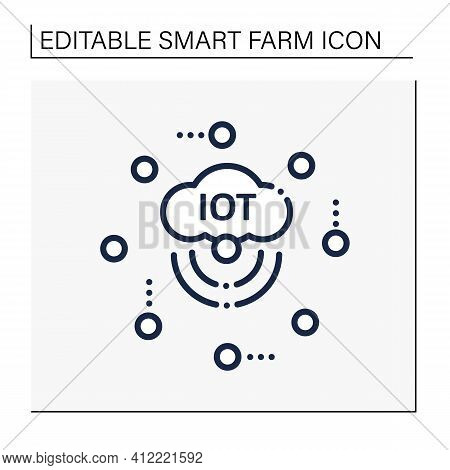 Iot Sensors Line Icon. Join Everyday Things To Internet. Sensors Connected Network To Collect Data,