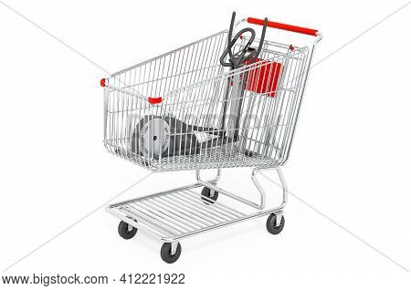 Shopping Cart With Elliptical Trainer. 3d Rendering