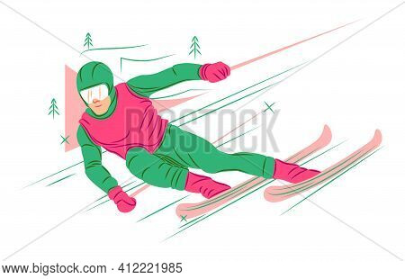 Vector Skier In Shadow Of Sharp Lines Style