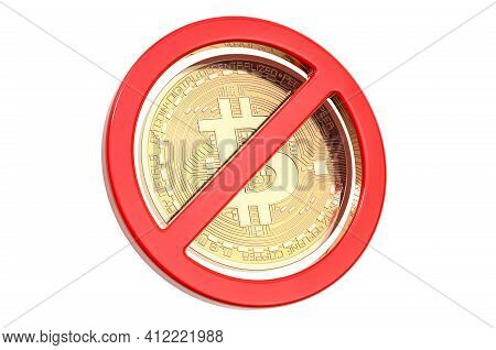 Sign Forbidden With Bitcoin. 3d Rendering Isolated On White Background