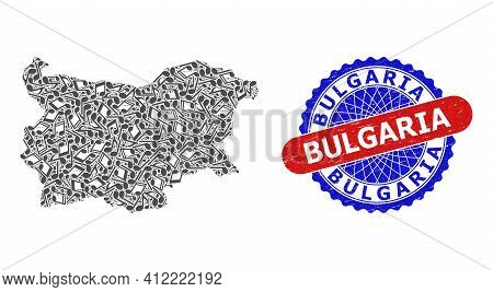 Music Notation Pattern For Bulgaria Map And Bicolor Distress Seal Stamp