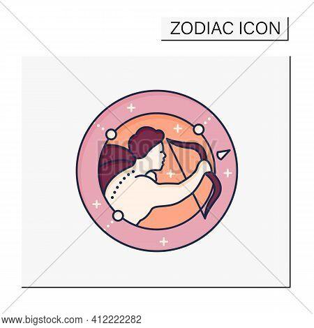 Sagittarius Color Icon. Ninth Fire Sign In Zodiac. Shooter Birth Symbol. Mystic Horoscope Sign. Astr