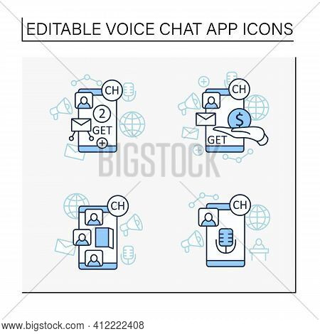Drop In Audio App Line Icons Set. Communication Application With Friends.application Invite Buy, Sha