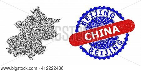 Music Notes Pattern For Beijing City Map And Bicolor Scratched Rubber Stamp