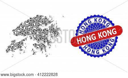 Melody Notes Pattern For Hong Kong Map And Bicolor Grunge Seal