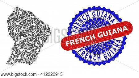 Music Notes Collage For French Guiana Map And Bicolor Scratched Stamp