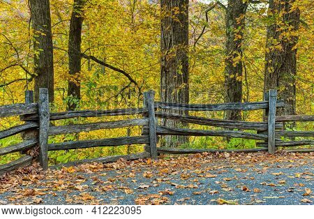 Horizontal Shot Of An Old Wooden Fence In Tennessee's Smoky Mountains.