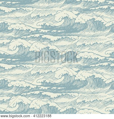 Vector Seamless Pattern With Hand-drawn Waves. Decorative Illustration Of The Sea Or Ocean, Stormy W