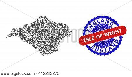 Musical Collage For Isle Of Wight Map And Bicolor Grunge Rubber Stamp