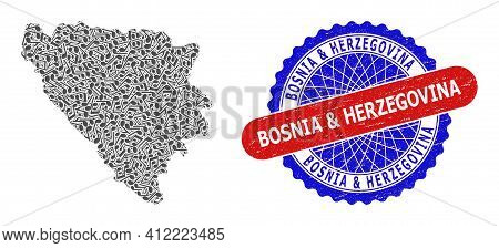 Music Notes Collage For Bosnia And Herzegovina Map And Bicolor Textured Seal