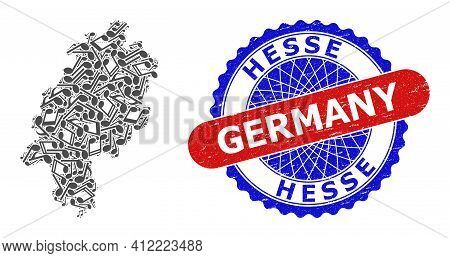 Music Notation Collage For Hesse Land Map And Bicolor Grunge Rubber Stamp
