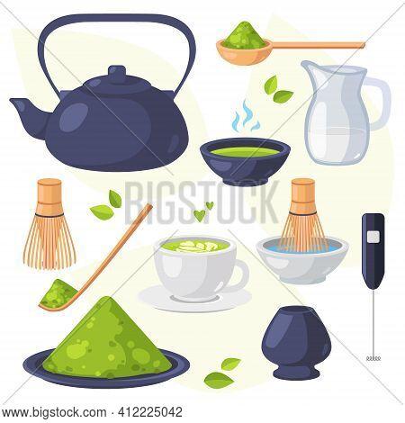 Collection Of Matcha Tea Products. Matcha Powder, Teapot, Bamboo Spoon, Tea Leaves, Chasen, Cha Shak