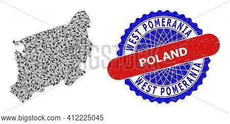 Melody Notes Collage For West Pomeranian Voivodeship Map And Bicolor Distress Stamp