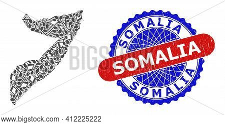 Musical Pattern For Somalia Map And Bicolor Distress Seal Stamp