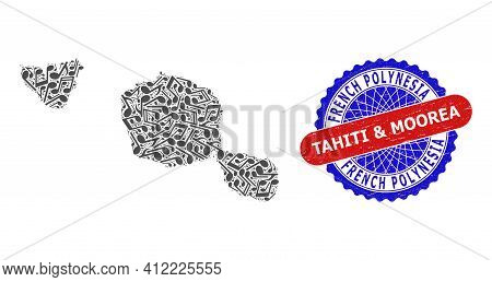 Music Notation Collage For Tahiti And Moorea Islands Map And Bicolor Scratched Rubber Stamp