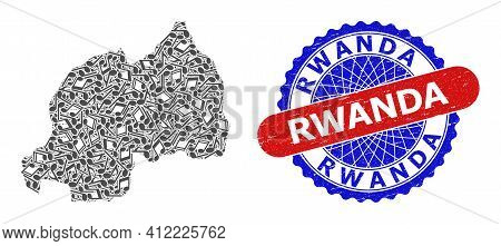 Melody Notes Mosaic For Rwanda Map And Bicolor Scratched Seal