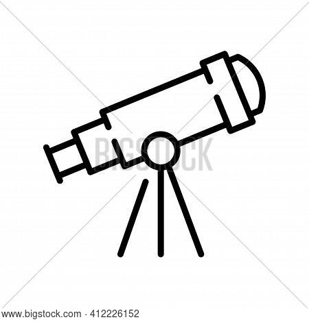 Monochrome Telescope Simple Icon Observation Discovery Astronomical Equipment Optical Device