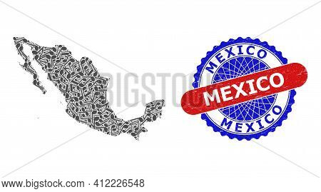 Music Notation Collage For Mexico Map And Bicolor Grunge Stamp Badge
