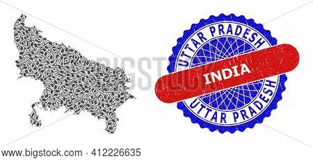 Musical Pattern For Uttar Pradesh State Map And Bicolor Distress Seal
