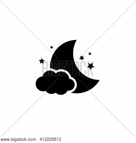 Simple Weather Icon With Half Moon Or Waning Crescent With Stars And Clouds In Sky. Symbol Of Cloudy