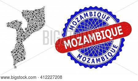 Melody Notes Pattern For Mozambique Map And Bicolor Distress Seal Stamp