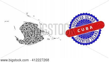 Music Notation Mosaic For Juventud Island Map And Bicolor Textured Rubber Stamp
