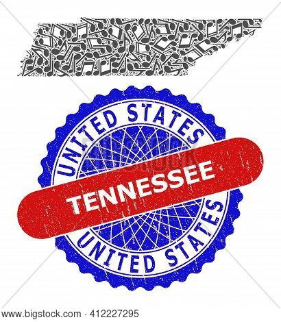 Music Pattern For Tennessee State Map And Bicolor Distress Stamp
