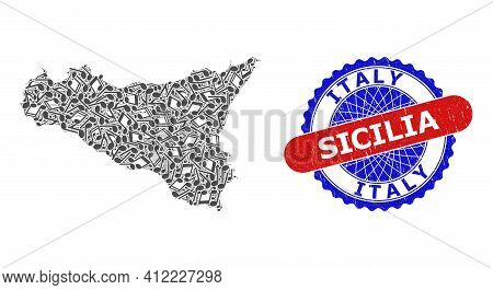 Music Notes Mosaic For Sicilia Map And Bicolor Distress Seal Stamp