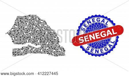Music Collage For Senegal Map And Bicolor Textured Seal Stamp