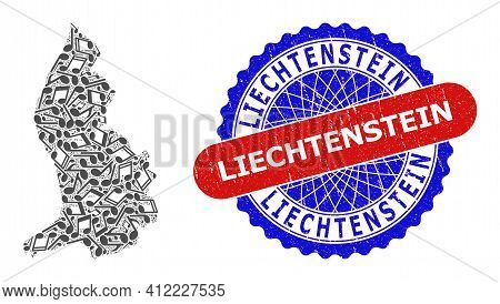 Music Notes Mosaic For Liechtenstein Map And Bicolor Scratched Stamp