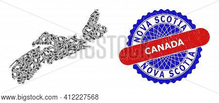 Music Notation Pattern For Nova Scotia Province Map And Bicolor Textured Stamp Badge