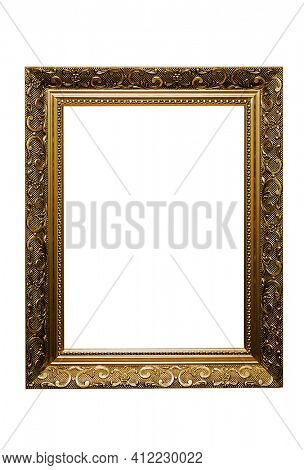golden picture frame isolated with clipping path on white backgrouund