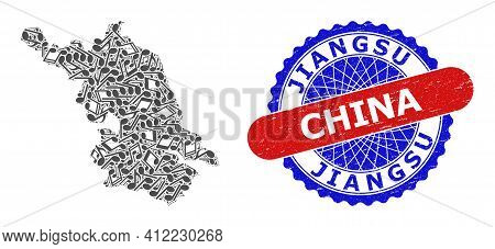 Music Notation Collage For Jiangsu Province Map And Bicolor Scratched Seal Stamp