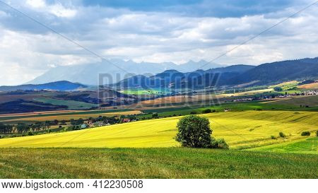 Panoramic view of the picturesque mountain scenery in the Carpathians