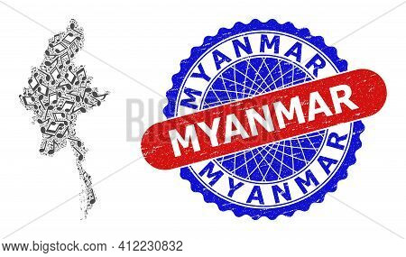 Music Notation Collage For Myanmar Map And Bicolor Textured Seal