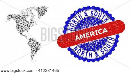 Music Notation Collage For South And North America Map And Bicolor Distress Rubber Stamp