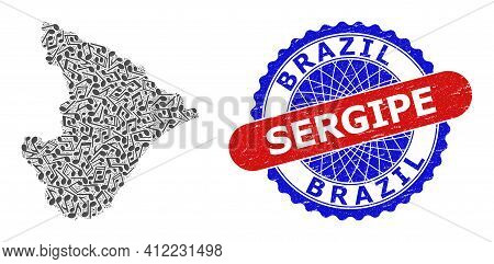 Music Notation Pattern For Sergipe State Map And Bicolor Grunge Stamp