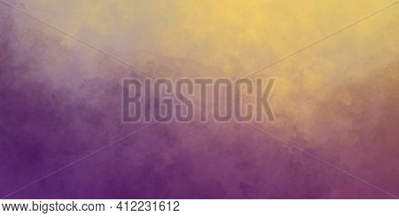 Abstract Stylish Watercolor Purple Yellow Color With Paint Mix, Paint Spots And Ombre Effect