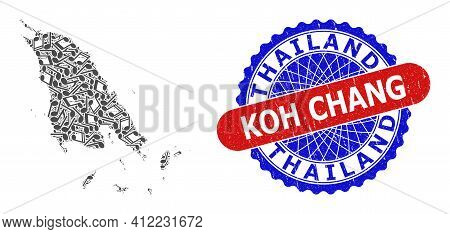 Music Notation Mosaic For Koh Chang Map And Bicolor Scratched Stamp