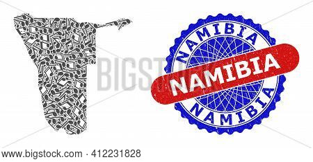 Melody Notes Mosaic For Namibia Map And Bicolor Distress Stamp Badge