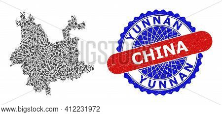 Music Notation Mosaic For Yunnan Province Map And Bicolor Scratched Rubber Stamp