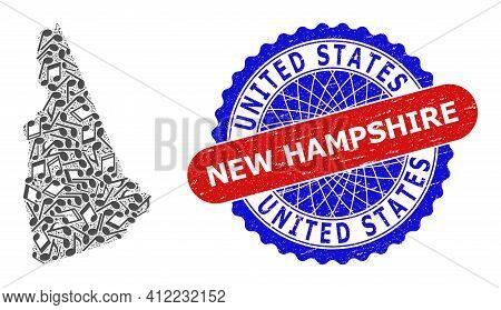Melody Notes Collage For New Hampshire State Map And Bicolor Grunge Stamp